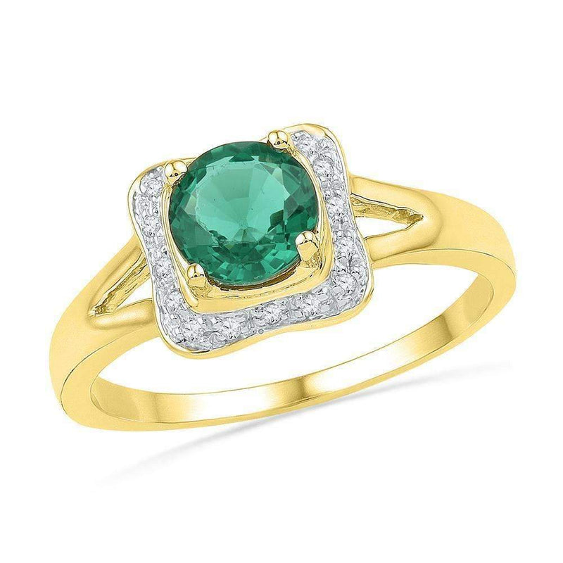 10kt Yellow Gold Womens Round Lab-Created Emerald Solitaire Diamond Ring 3/4 Cttw-Gold & Diamond Fashion Rings-10-JadeMoghul Inc.