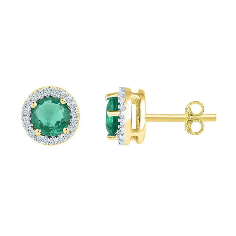 10kt Yellow Gold Womens Round Lab-Created Emerald Solitaire Stud Earrings 1-1-6 Cttw-Gold & Diamond Earrings-JadeMoghul Inc.