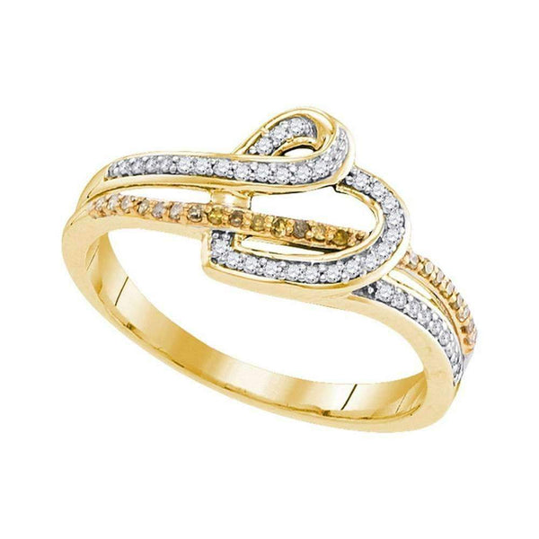 10kt Yellow Gold Women's Round Yellow Color Enhanced Diamond Heart Ring 1/5 Cttw - FREE Shipping (US/CAN)-Gold & Diamond Heart Rings-6-JadeMoghul Inc.