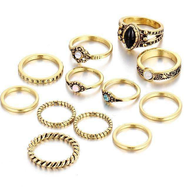 12 pieces Fashion Vintage Midi Rings Set-Gold Color-JadeMoghul Inc.