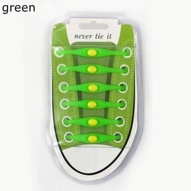 12pcs/lot Round Shoelace Gift box Unisex Elastic Silicone Shoe Laces For All Sneakers No Tie Shoelaces Wholesale K049-Green-JadeMoghul Inc.
