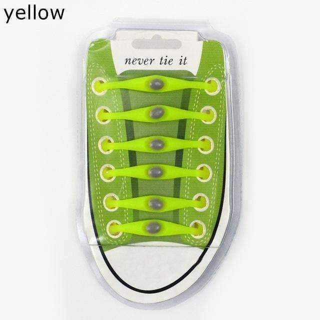 12pcs/lot Round Shoelace Gift box Unisex Elastic Silicone Shoe Laces For All Sneakers No Tie Shoelaces Wholesale K049-Yellow-JadeMoghul Inc.