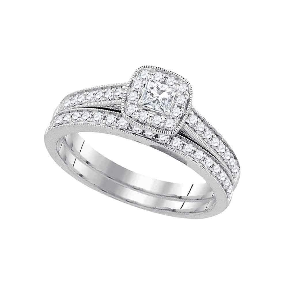 14k White Gold Princess Diamond Women S Wedding Bridal Ring Set 1