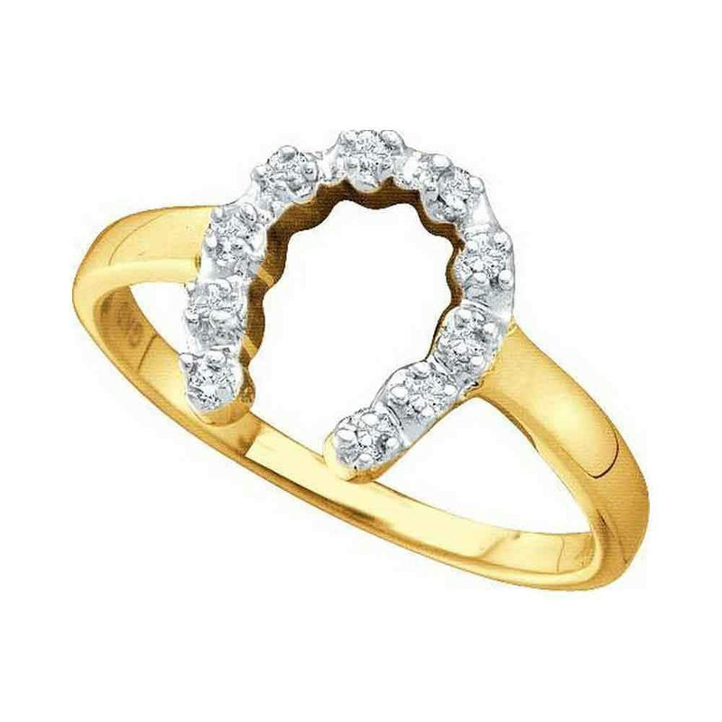 14k Yellow Gold Diamond-accent Womens Small Horse shoe Lucky Ring 1/20 Cttw-Gold & Diamond Rings-10.5-JadeMoghul Inc.