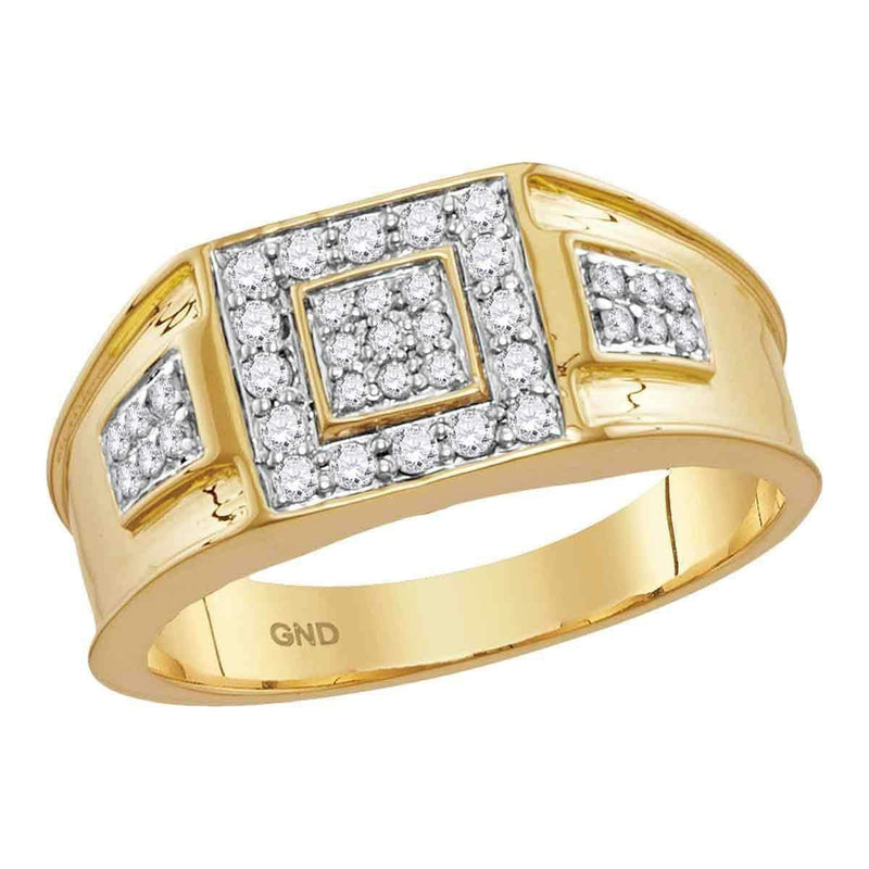 14k Yellow Gold Men's Round Diamond Square Cluster Masculine Band Ring 1/2 Cttw - FREE Shipping (US/CAN)-Gold & Diamond Men Rings-8-JadeMoghul Inc.