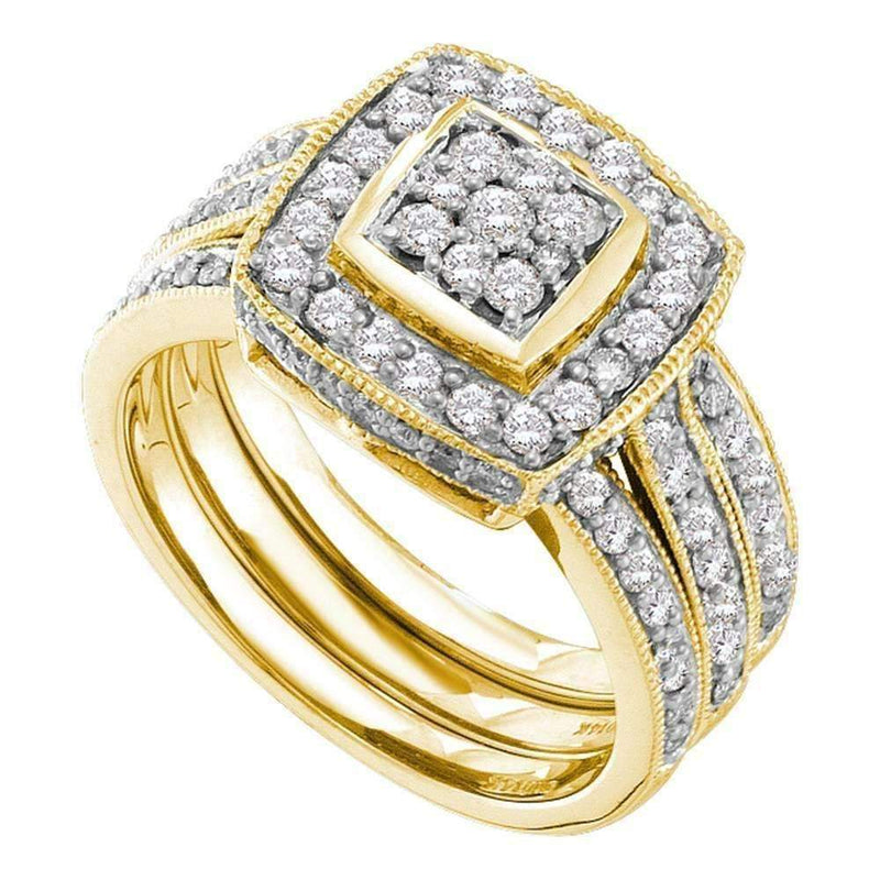 14k Yellow Gold Round Diamond Cluster Women's 3-Piece Wedding Bridal Engagement Ring Set 1.00 Cttw - FREE Shipping (US/CAN)-Gold & Diamond Wedding Ring Sets-6-JadeMoghul Inc.