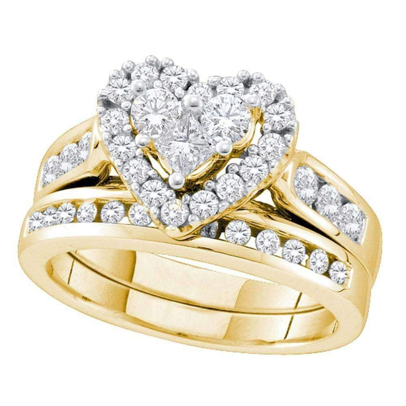 14k Yellow Gold Women's Round Princess Diamond Heart Wedding Bridal Ring Set 1.00 Cttw - FREE Shipping (US/CAN)-Gold & Diamond Wedding Ring Sets-5-JadeMoghul Inc.