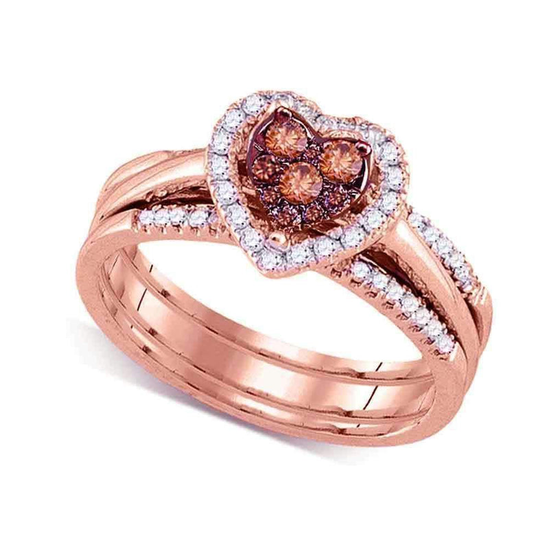 14kt Rose Gold Women's Round Cognac-brown Color Enhanced Diamond Heart Cluster Bridal Wedding Engagement Ring Band Set 1/2 Cttw - FREE Shipping (US/CAN)-Gold & Diamond Wedding Ring Sets-5.5-JadeMoghul Inc.