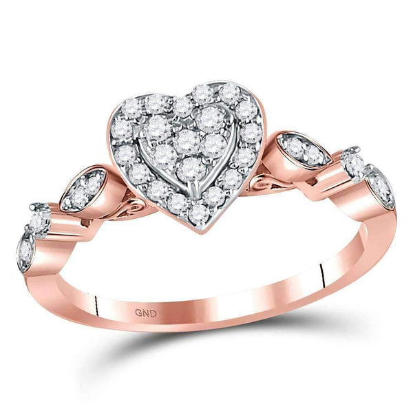 14kt Rose Gold Womens Round Diamond Heart Cluster Ring 1/3 Cttw-Gold & Diamond Heart Rings-5-JadeMoghul Inc.