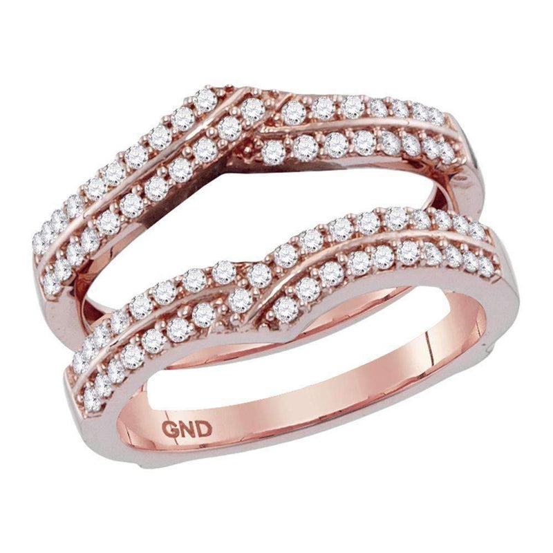 14kt Rose Gold Women's Round Diamond Ring Guard Wrap Solitaire Enhancer 1/2 Cttw - FREE Shipping (US/CAN)-Gold & Diamond Wedding Jewelry-6-JadeMoghul Inc.