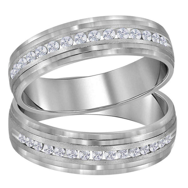 14kt White Gold His & Hers Round Diamond Band Matching Wedding Band Set 1-3 Cttw-Gold & Diamond Trio Sets-JadeMoghul Inc.