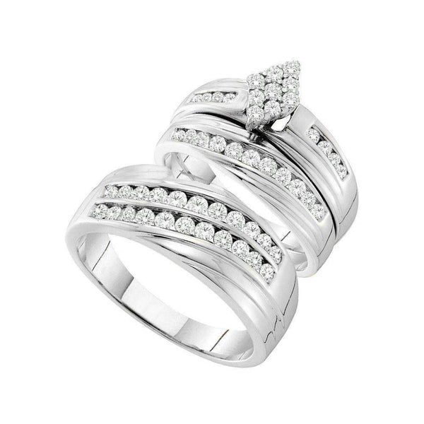 14kt White Gold His & Hers Round Diamond Cluster Matching Bridal Wedding Ring Band Set 1-1/5 Cttw - FREE Shipping (US/CAN)-Gold & Diamond Trio Sets-5-JadeMoghul Inc.