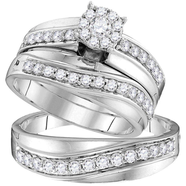 14kt White Gold His & Hers Round Diamond Cluster Matching Bridal Wedding Ring Band Set 1.00 Cttw - FREE Shipping (US/CAN)-Gold & Diamond Trio Sets-5-JadeMoghul Inc.