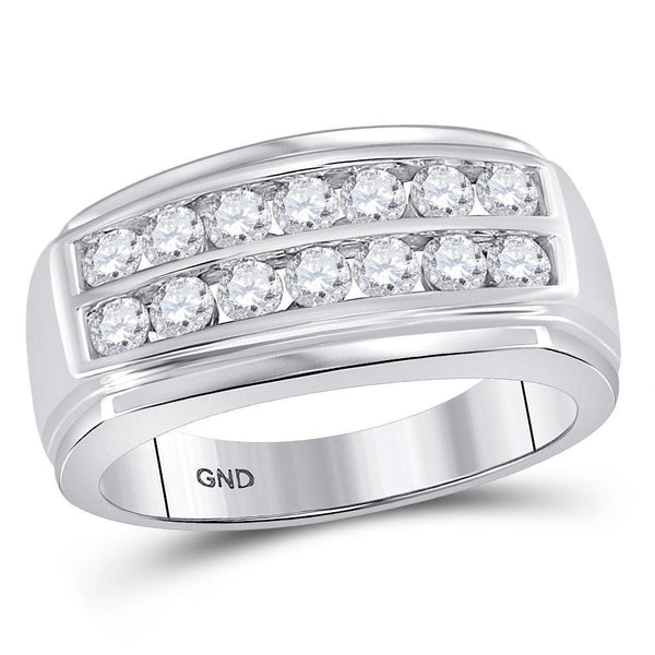 14kt White Gold Mens Diamond Double Row Band Ring 1.00 Cttw-Gold & Diamond Men Rings-JadeMoghul Inc.