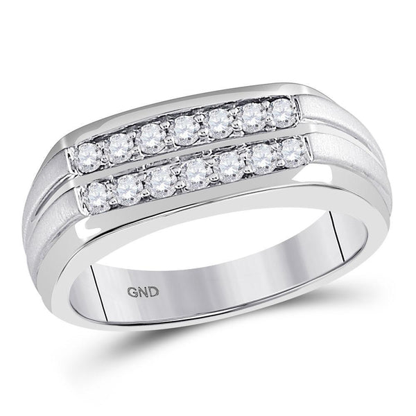 14kt White Gold Mens Diamond Double Row Wedding Band Ring 1/2 Cttw-Gold & Diamond Men Rings-JadeMoghul Inc.