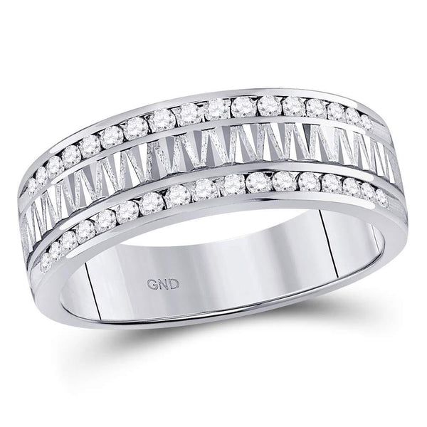 14kt White Gold Mens Diamond Double Row Zigzag Wedding Band Ring 1/2 Cttw-Gold & Diamond Men Rings-JadeMoghul Inc.