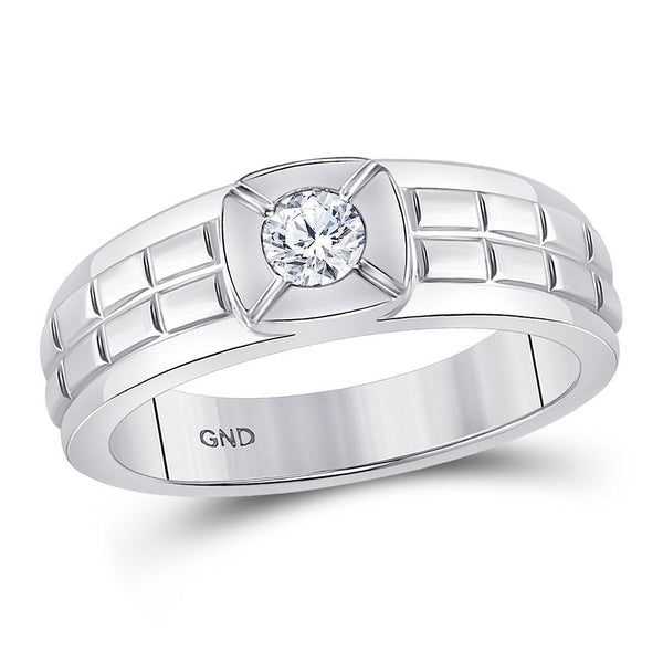 14kt White Gold Mens Diamond Solitaire Grid Fashion Ring 1/2 Cttw-Gold & Diamond Men Rings-JadeMoghul Inc.