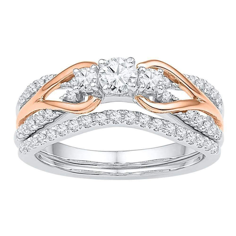 14kt White Gold Rose-tone Women's Round Diamond Knot Bridal Wedding Engagement Ring Band Set 5/8 Cttw - FREE Shipping (US/CAN)-Gold & Diamond Wedding Ring Sets-5-JadeMoghul Inc.
