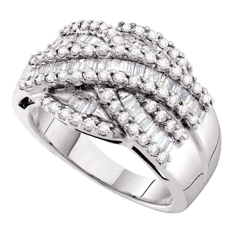 14kt White Gold Womens Baguette Round Diamond Crossover Cocktail Band Ring 1.00 Cttw-Gold & Diamond Bands-5.5-JadeMoghul Inc.