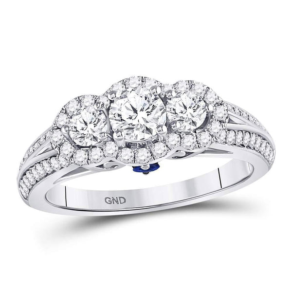 14kt White Gold Women's Diamond 3-stone Bridal or Engagement Ring 1-1/5 Cttw-Gold & Diamond Wedding Jewelry-JadeMoghul Inc.
