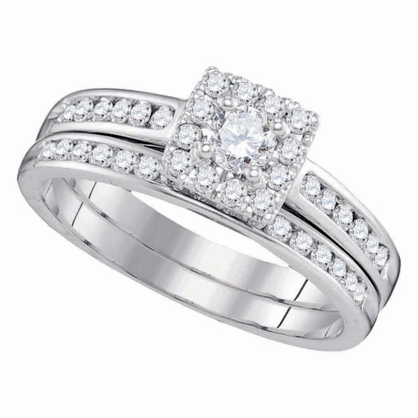 14kt White Gold Women's Diamond Cluster Bridal or Engagement Ring Band Set 5/8 Cttw-Gold & Diamond Wedding Jewelry-JadeMoghul Inc.