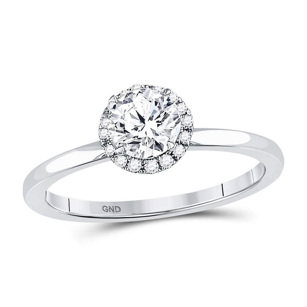 14kt White Gold Women's Diamond Solitaire Bridal or Engagement Ring 7/8 Cttw-Gold & Diamond Wedding Jewelry-JadeMoghul Inc.