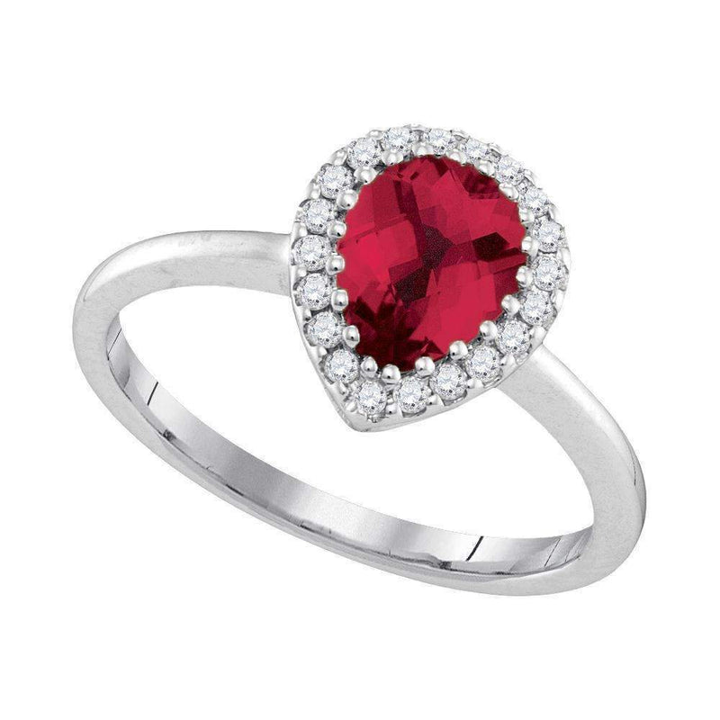 14kt White Gold Women's Pear Natural Ruby Solitaire Diamond Halo Bridal Ring 1/6 Cttw - FREE Shipping (US/CAN)-Gold & Diamond Fashion Rings-5-JadeMoghul Inc.