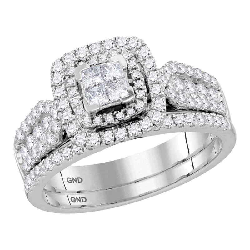 14kt White Gold Women's Princess Diamond Cluster Halo Bridal Wedding Engagement Ring Band Set 1.00 Cttw - FREE Shipping (US/CAN)-Gold & Diamond Wedding Ring Sets-JadeMoghul Inc.