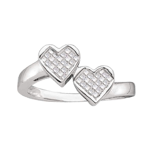 14kt White Gold Women's Princess Diamond Double Heart Love Ring 1/4 Cttw - FREE Shipping (US/CAN)-Gold & Diamond Heart Rings-5-JadeMoghul Inc.