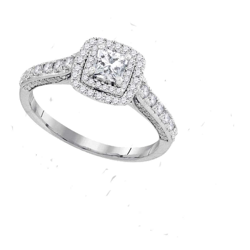 14kt White Gold Women's Princess Diamond Solitaire Bridal Wedding Engagement Ring 1.00 Cttw - FREE Shipping (US/CAN) Size 11 (Certified)-Gold & Diamond Engagement & Anniversary Rings-10-JadeMoghul Inc.