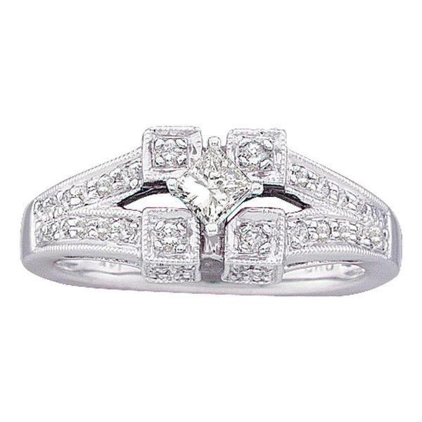 14kt White Gold Womens Princess Diamond Solitaire Bridal Wedding Engagement Ring 1/2 Cttw-Gold & Diamond Engagement & Anniversary Rings-6.5-JadeMoghul Inc.