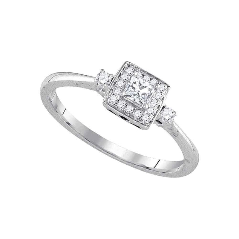 14kt White Gold Women's Princess Diamond Solitaire Bridal Wedding Engagement Ring 1/4 Cttw - FREE Shipping (US/CAN)-Gold & Diamond Engagement & Anniversary Rings-5-JadeMoghul Inc.
