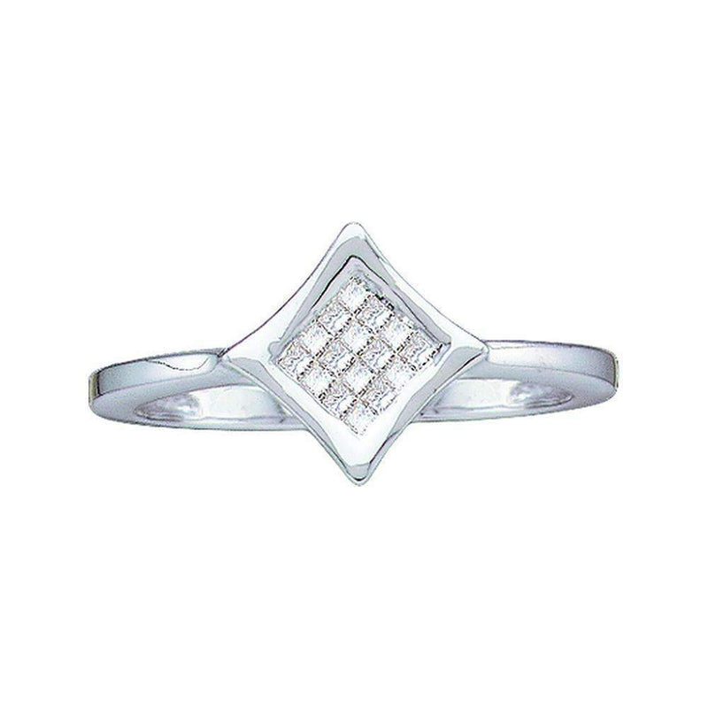 14kt White Gold Women's Princess Diamond Square Cluster Ring 1/8 Cttw - FREE Shipping (US/CAN)-Gold & Diamond Cluster Rings-6-JadeMoghul Inc.