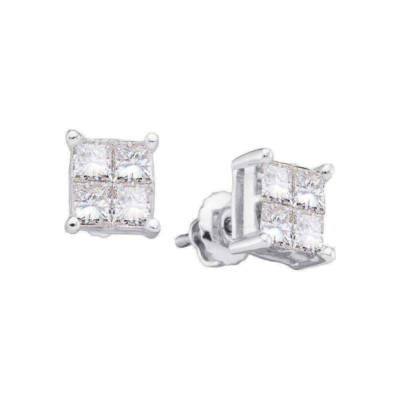 14kt White Gold Women's Princess Diamond Square Cluster Screwback Stud Earrings 1-3 Cttw - FREE Shipping (US/CAN)-Gold & Diamond Earrings-JadeMoghul Inc.