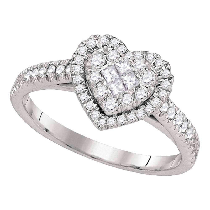 14kt White Gold Womens Princess Round Diamond Heart Cluster Ring 1-2 Cttw-Gold & Diamond Heart Rings-JadeMoghul Inc.