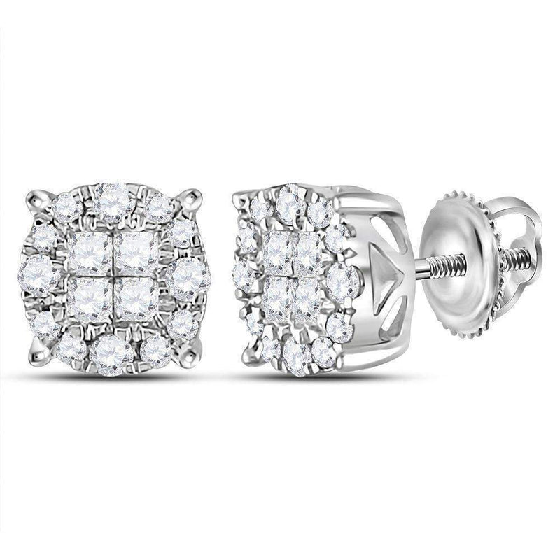 14kt White Gold Women's Princess Round Diamond Soleil Cluster Earrings 1-2 Cttw - FREE Shipping (US/CAN)-Gold & Diamond Earrings-JadeMoghul Inc.