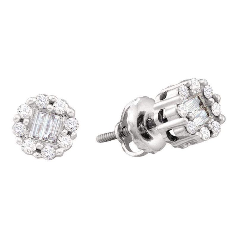 14kt White Gold Women's Round Baguette Diamond Cluster Screwback Stud Earrings 1-4 Cttw - FREE Shipping (US/CAN)-Gold & Diamond Earrings-JadeMoghul Inc.