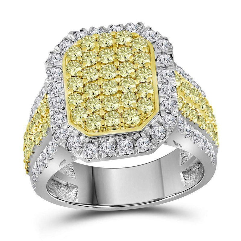 14kt White Gold Women's Round Canary Yellow Diamond Rectangle Cluster Ring 2-1-3 Cttw - FREE Shipping (US/CAN)-Gold & Diamond Cluster Rings-JadeMoghul Inc.