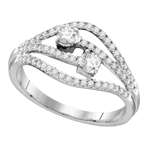 14kt White Gold Womens Round Diamond 2-stone Bridal Wedding Engagement Ring 1-2 Cttw-Gold & Diamond Engagement & Anniversary Rings-JadeMoghul Inc.