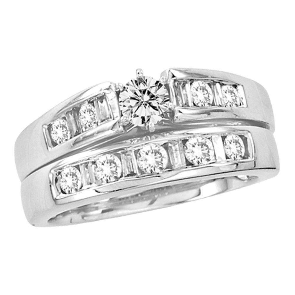 14kt White Gold Women S Round Diamond Bridal Wedding Engagement