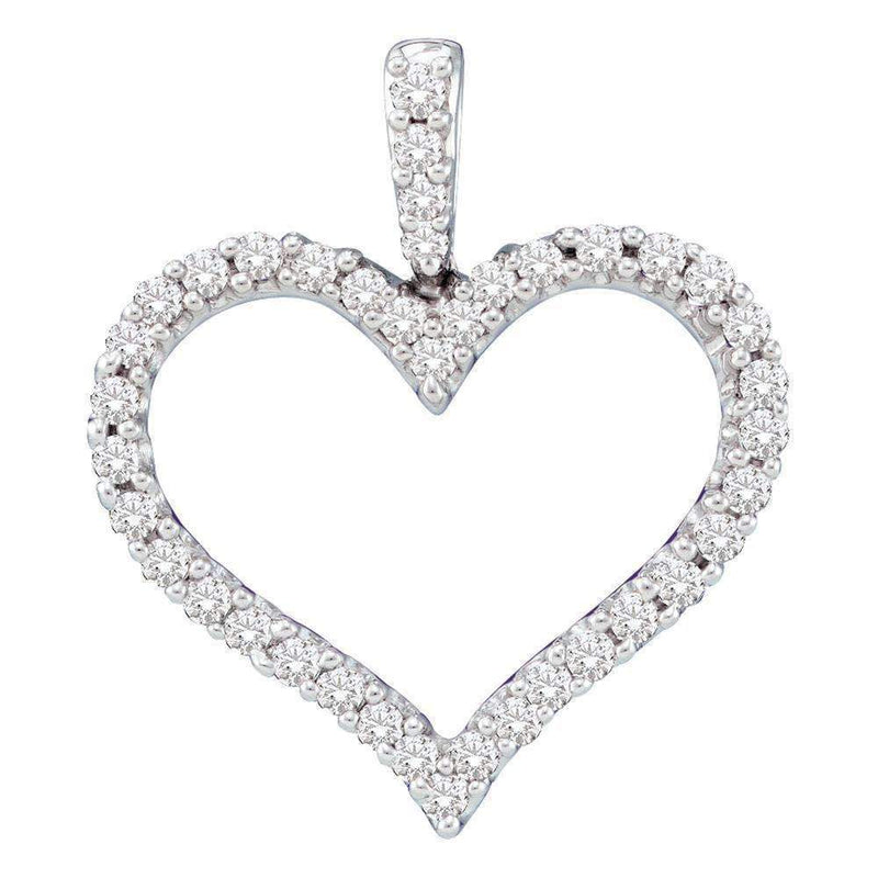 14kt White Gold Women's Round Diamond Classic Heart Outline Pendant 3-8 Cttw - FREE Shipping (US/CAN)-Gold & Diamond Pendants & Necklaces-JadeMoghul Inc.