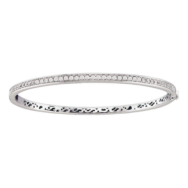 14kt White Gold Womens Round Diamond Classic Single Row Bangle Bracelet 1.00 Cttw - FREE Shipping (US/CAN)-Gold & Diamond Bracelets-JadeMoghul Inc.