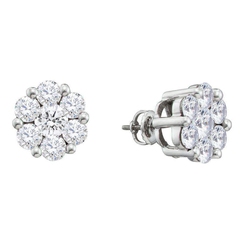 14kt White Gold Women's Round Diamond Flower Cluster Screwback Stud Earrings 2.00 Cttw - FREE Shipping (US/CAN)-Gold & Diamond Earrings-JadeMoghul Inc.
