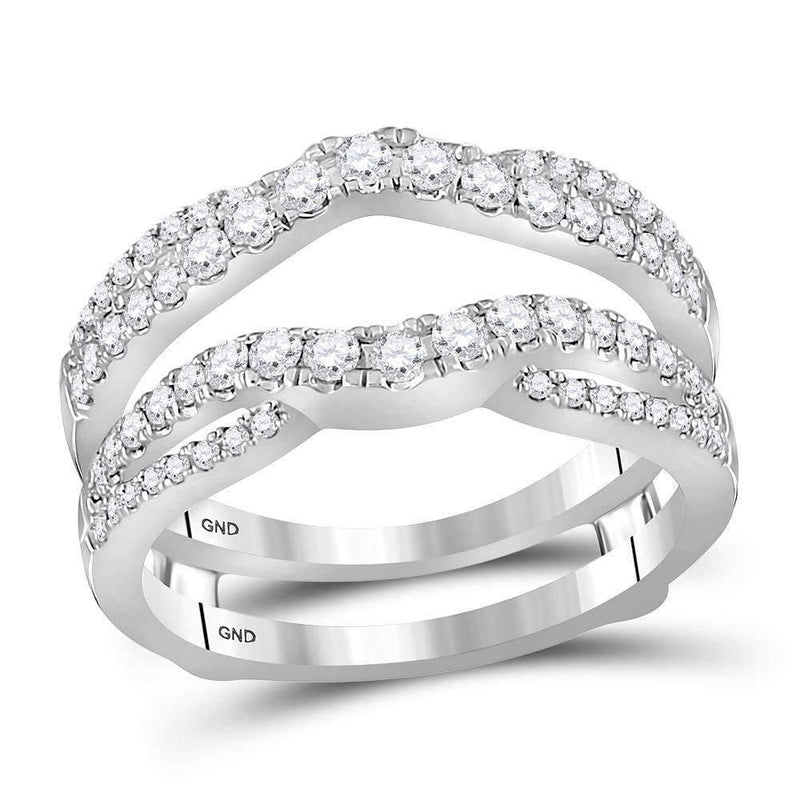 14kt White Gold Women's Round Diamond Ring Guard Wrap Ring Guard Enhancer 5/8 Cttw - FREE Shipping (US/CAN)-Gold & Diamond Wedding Jewelry-6-JadeMoghul Inc.
