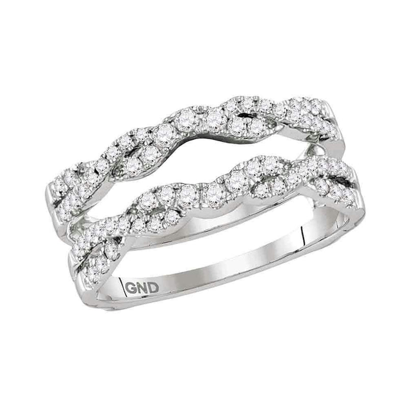 14kt White Gold Women's Round Diamond Ring Guard Wrap Solitaire Enhancer 1/2 Cttw - FREE Shipping (US/CAN)-Gold & Diamond Wedding Jewelry-5-JadeMoghul Inc.