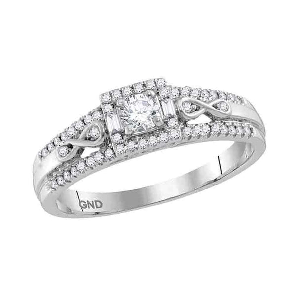 14kt White Gold Womens Round Diamond Solitaire Bridal Wedding Engagement Ring 1-3 Cttw-Gold & Diamond Engagement & Anniversary Rings-JadeMoghul Inc.