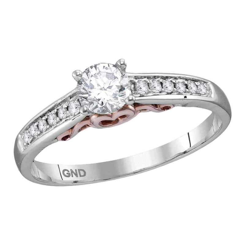 14kt White Gold Women's Round Diamond Solitaire Bridal Wedding Engagement Ring 1/2 Cttw - FREE Shipping (US/CAN)-Gold & Diamond Engagement & Anniversary Rings-6-JadeMoghul Inc.