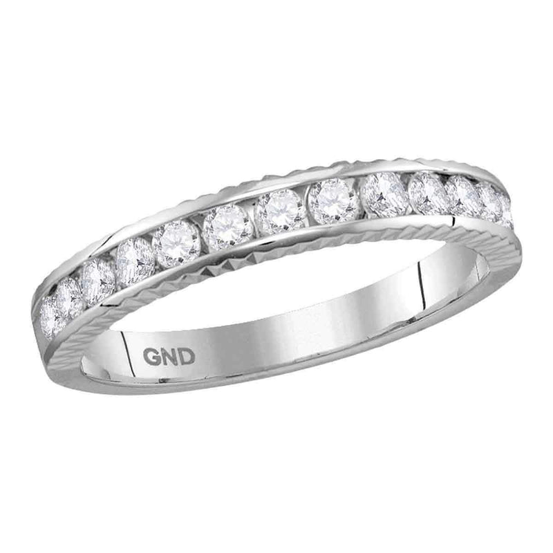 14kt White Gold Women's Round Diamond Wedding Anniversary Band Ring 1/2 Cttw - FREE Shipping (US/CAN)-Gold & Diamond Wedding Jewelry-5.5-JadeMoghul Inc.