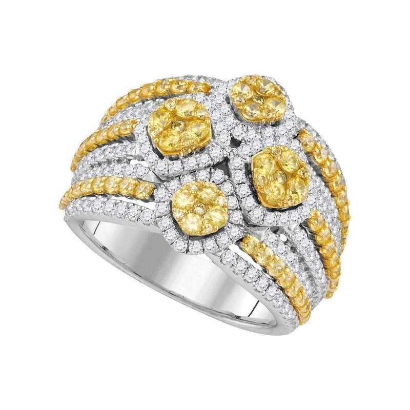 14kt White Gold Women's Round Natural Canary Yellow Diamond Fashion Ring 2-7-8 Cttw - FREE Shipping (US/CAN)-Gold & Diamond Fashion Rings-JadeMoghul Inc.