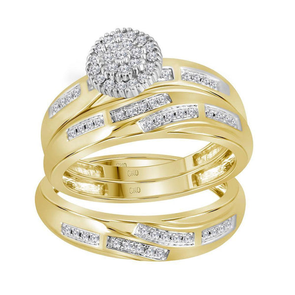 14kt Yellow Gold His & Hers Diamond Cluster Matching Bridal Wedding Ring Band Set 1/3 Cttw-Gold & Diamond Wedding Jewelry-JadeMoghul Inc.